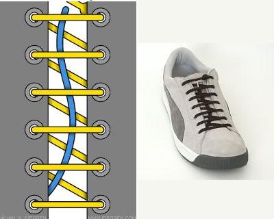 Thắt dây giày kiểu sọc ngang giấu dây