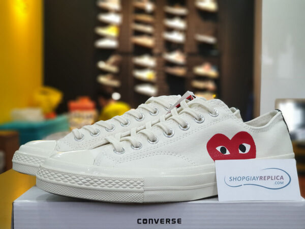giày converse tim thấp trắng replica