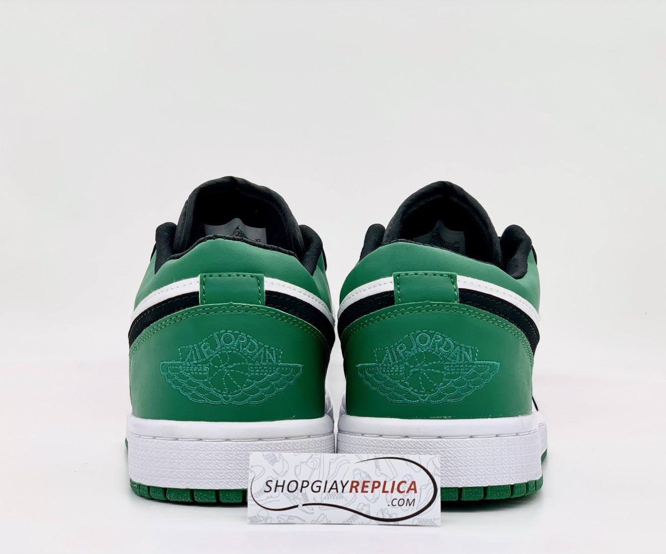 gót giày giày Air Jordan 1 Low White Black Mystic Green