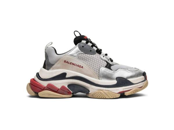 giày balenciaga triple s đỏ bạc replica