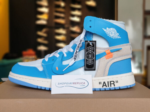 giày nike air jordan 1 off white blue replica