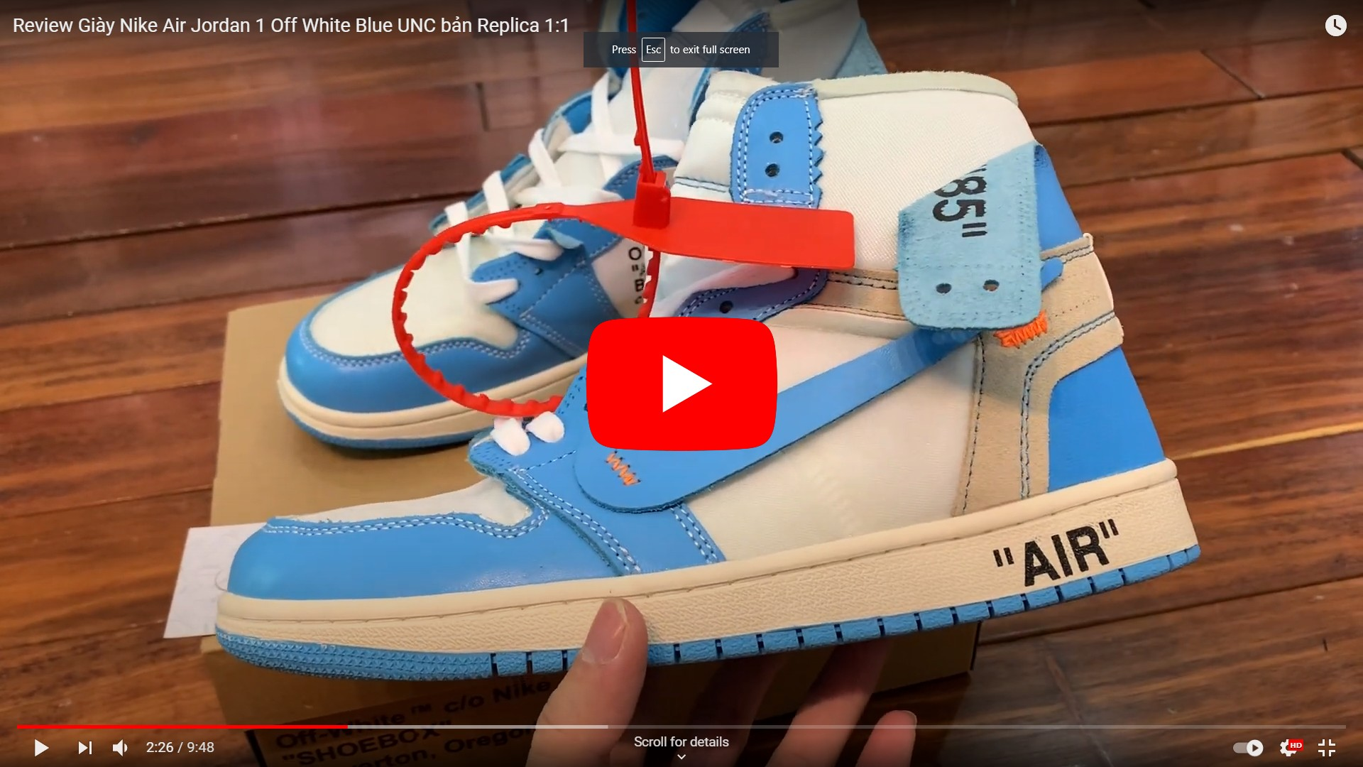video unbox jordan off white unc blue