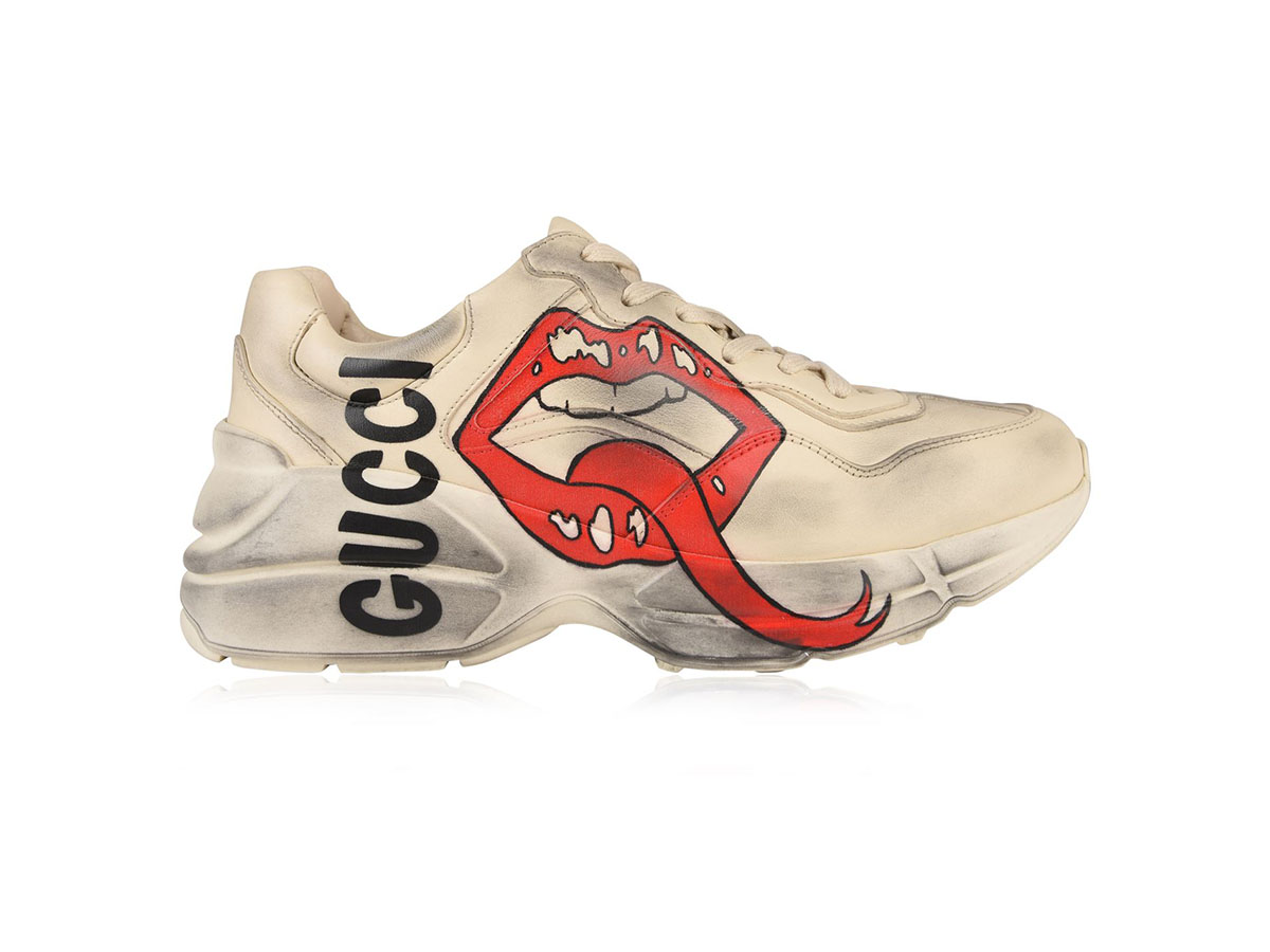 giày gucci white mouth rhyton replica