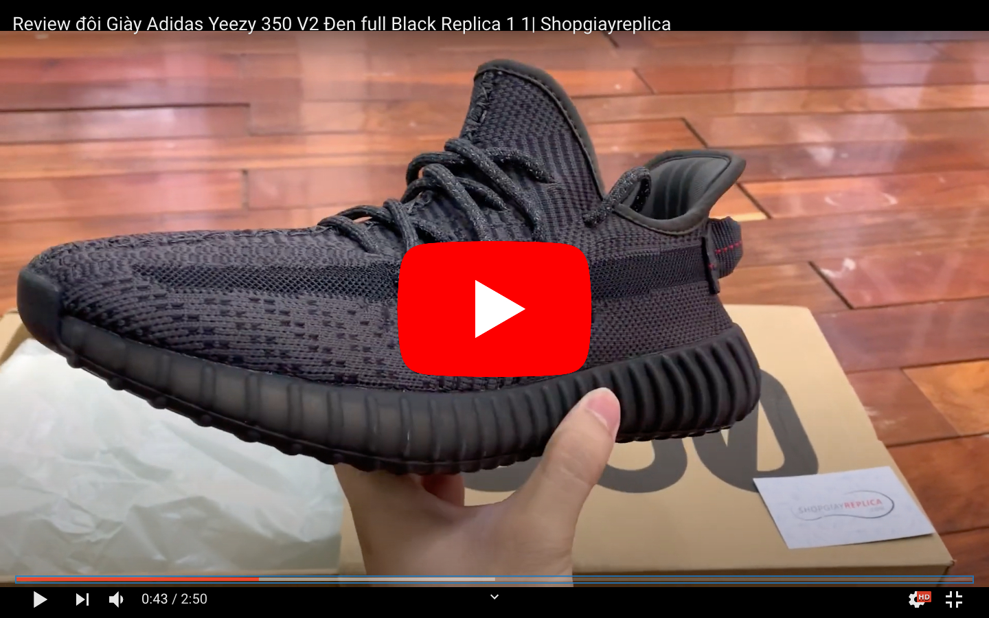 Video unbox giay yeezy 350 black static replica