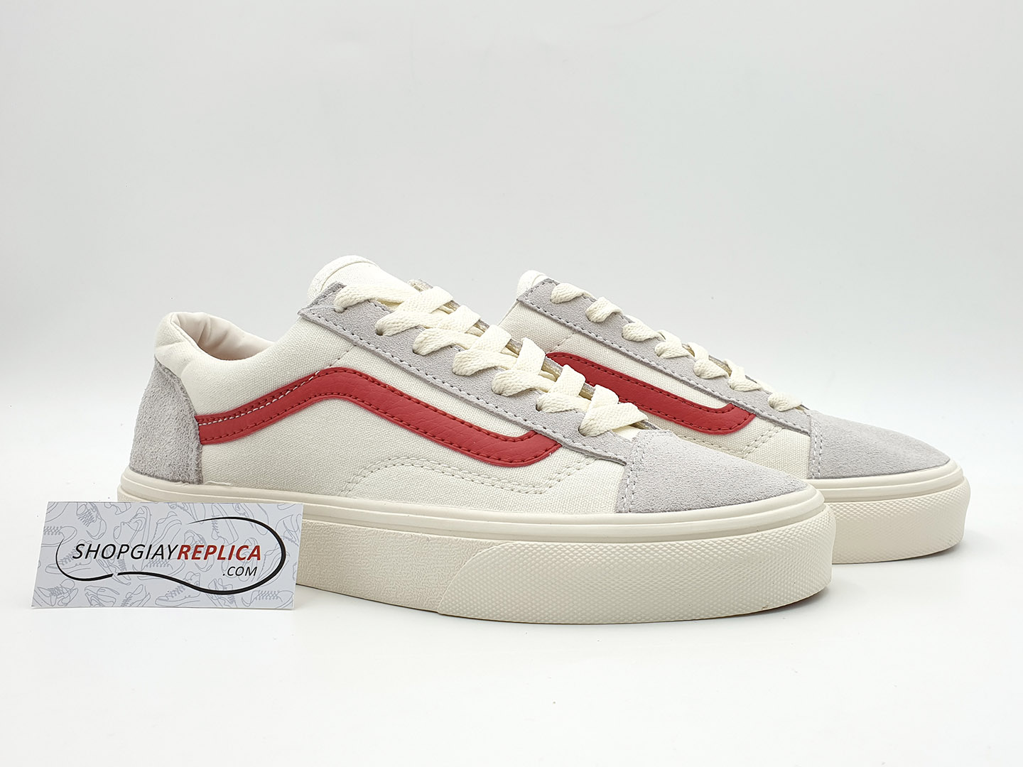 giày vans old skool trang soc do replica