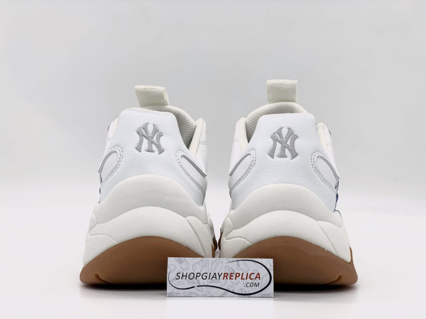 giày new york trắng chữ xanh