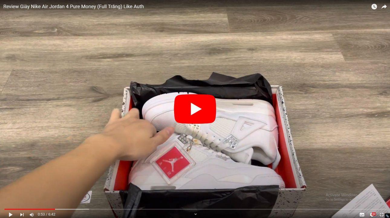 Video Giày Nike Air Jordan 4 Retro Pure Money (full trắng) Like Auth