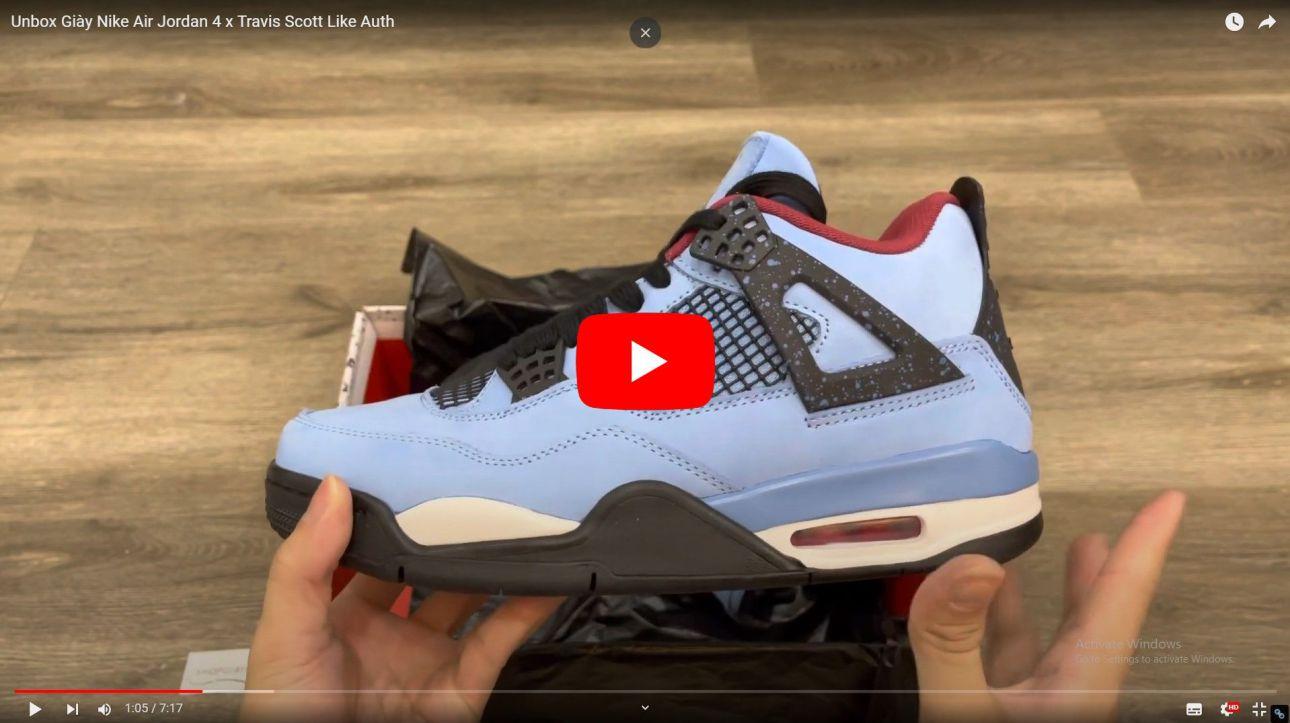 Video Giày Nike Air Jordan 4 Travis Scott Like Auth
