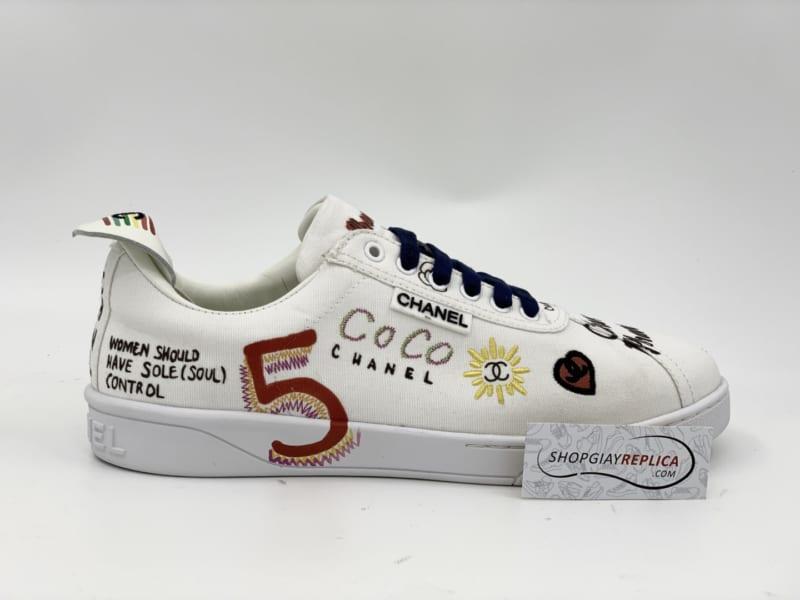 Giày Chanel x Pharell White Canvas Siêu Cấp