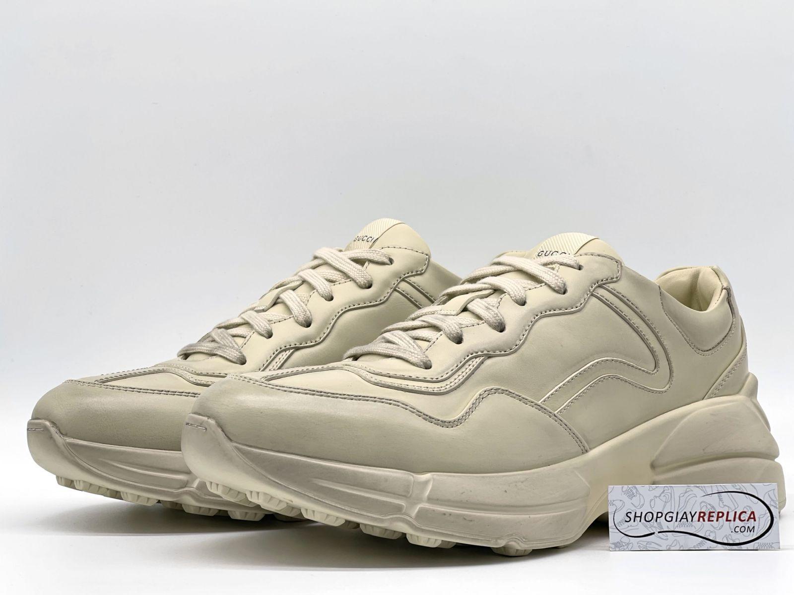 Giày Gucci Rhyton Leather Sneaker da trơn