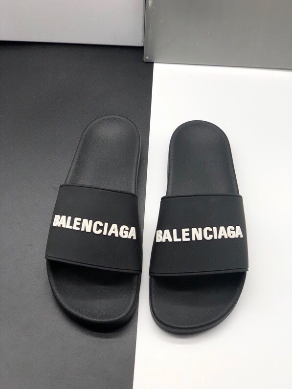 Dép Balenciaga Pool Slide Black White Replica