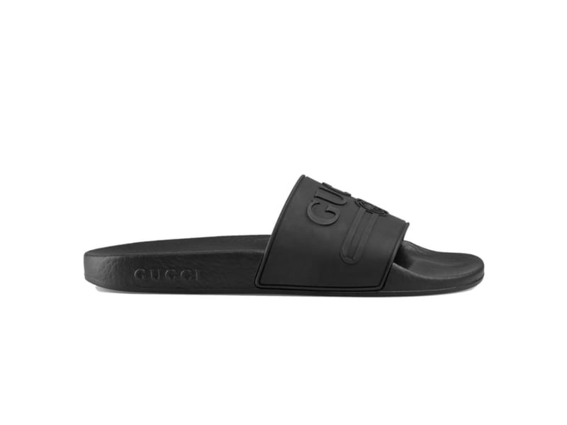Dép Gucci Logo Slide Black Rubber Replica