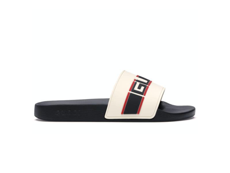 Dép Gucci Stripe Slide White Replica
