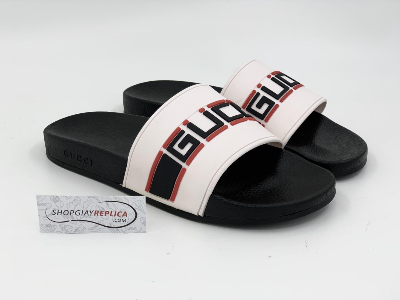 Dép Gucci Stripe Slide White Siêu Cấp
