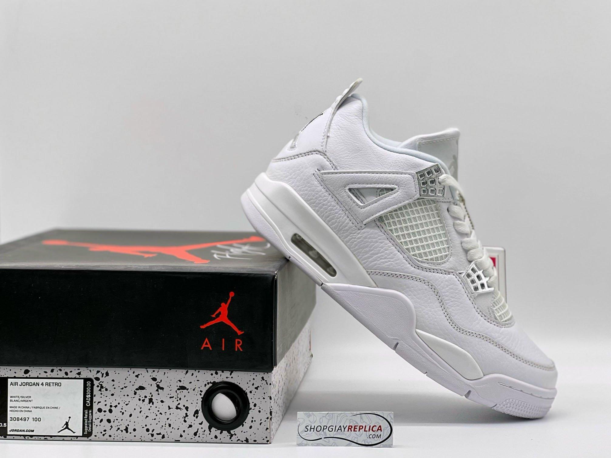 Giày Nike Air Jordan 4 Retro Pure Money (full trắng) rep