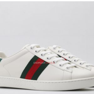 Giày Gucci Ace Leather Sneaker With Green Crocodile Like Auth