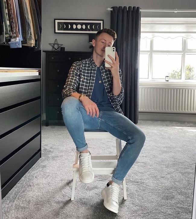 phối đồ giày mcqueen nam quần jeans