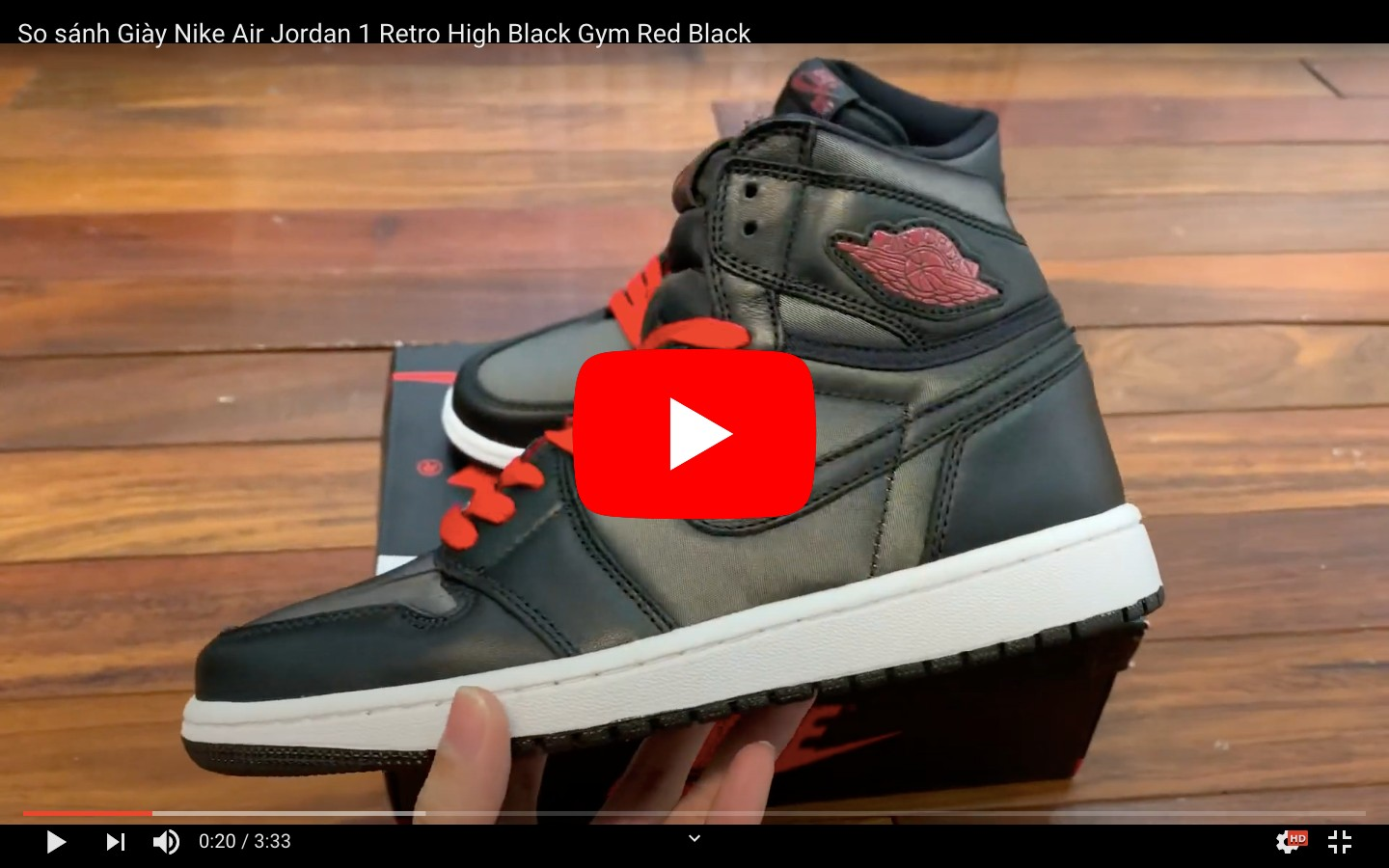 Unbox giày jordan 1 black gym red black