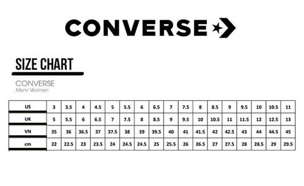 Bảng size sneaker Converse