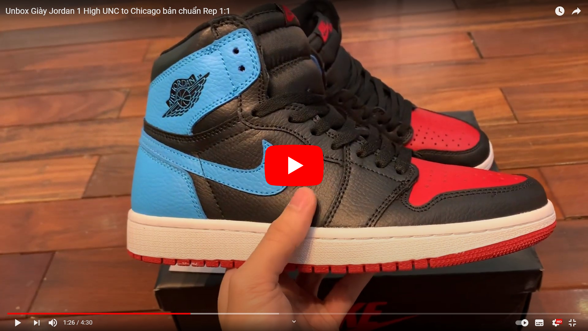 video jordan 1 high unc to chi