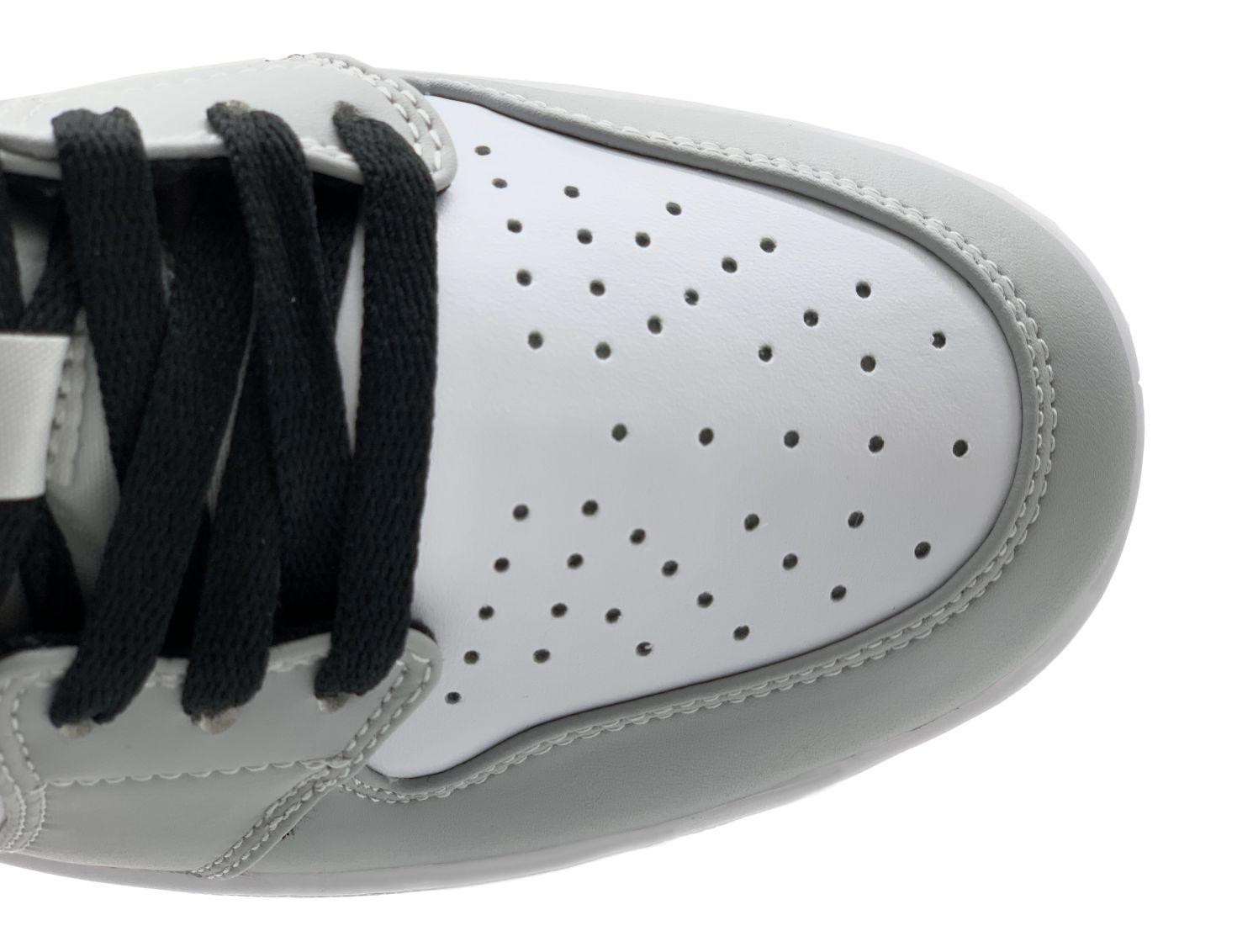 toebox lỗ thoát khí mũi giày air jordan 1 mid light smokey grey rep 1:1