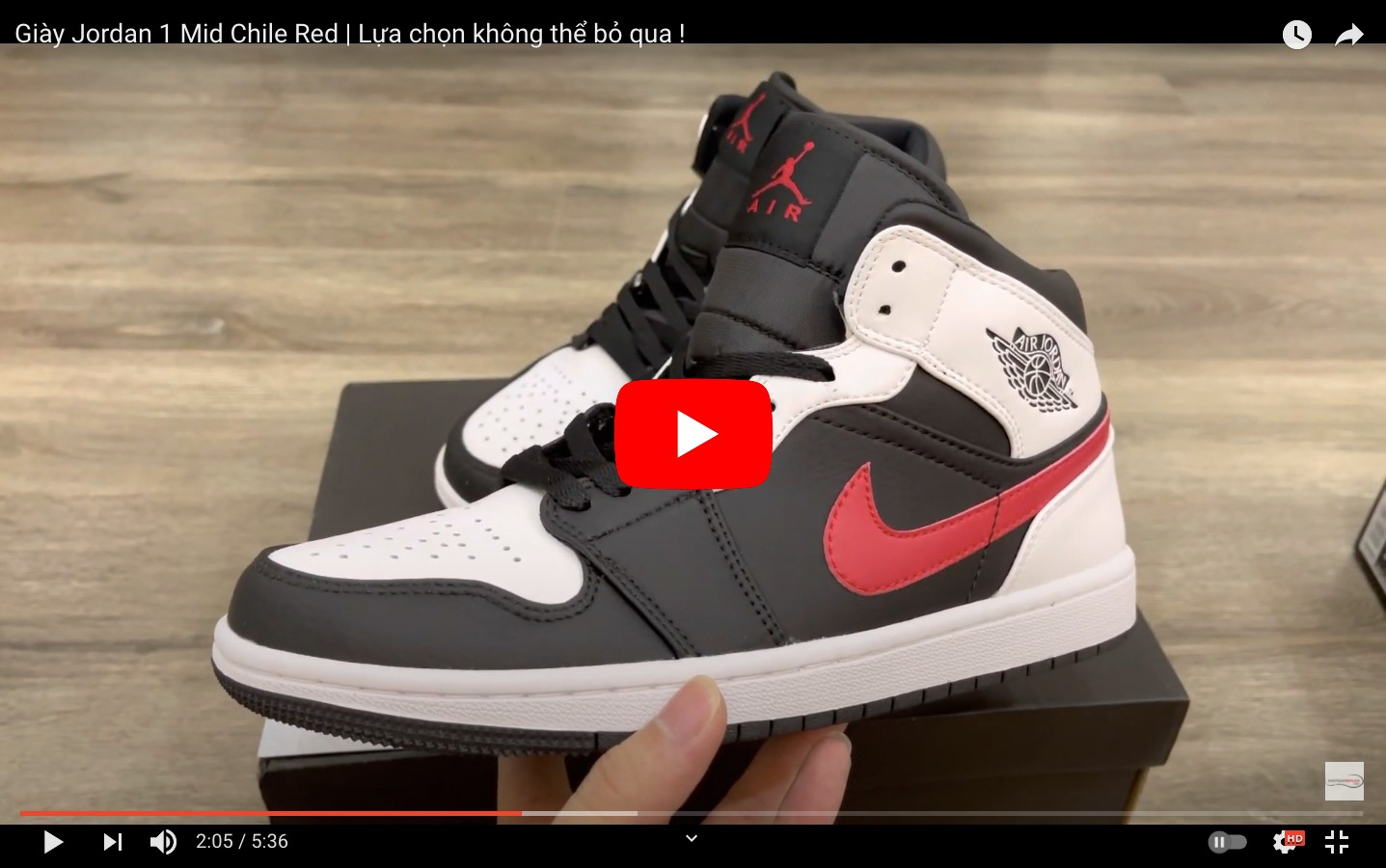 Video jordan 1 mid chile red white