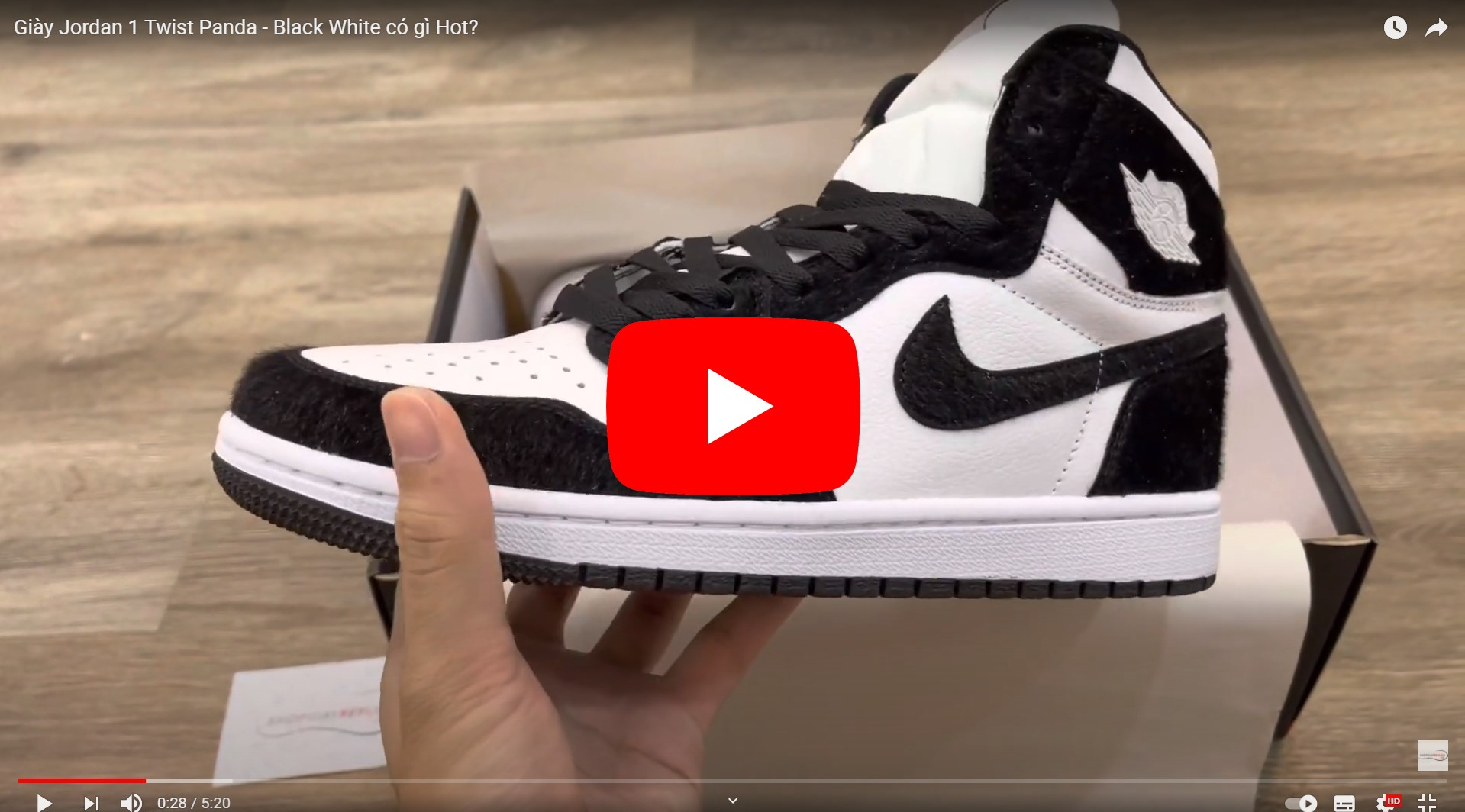 Video giày jordan 1 twist panda