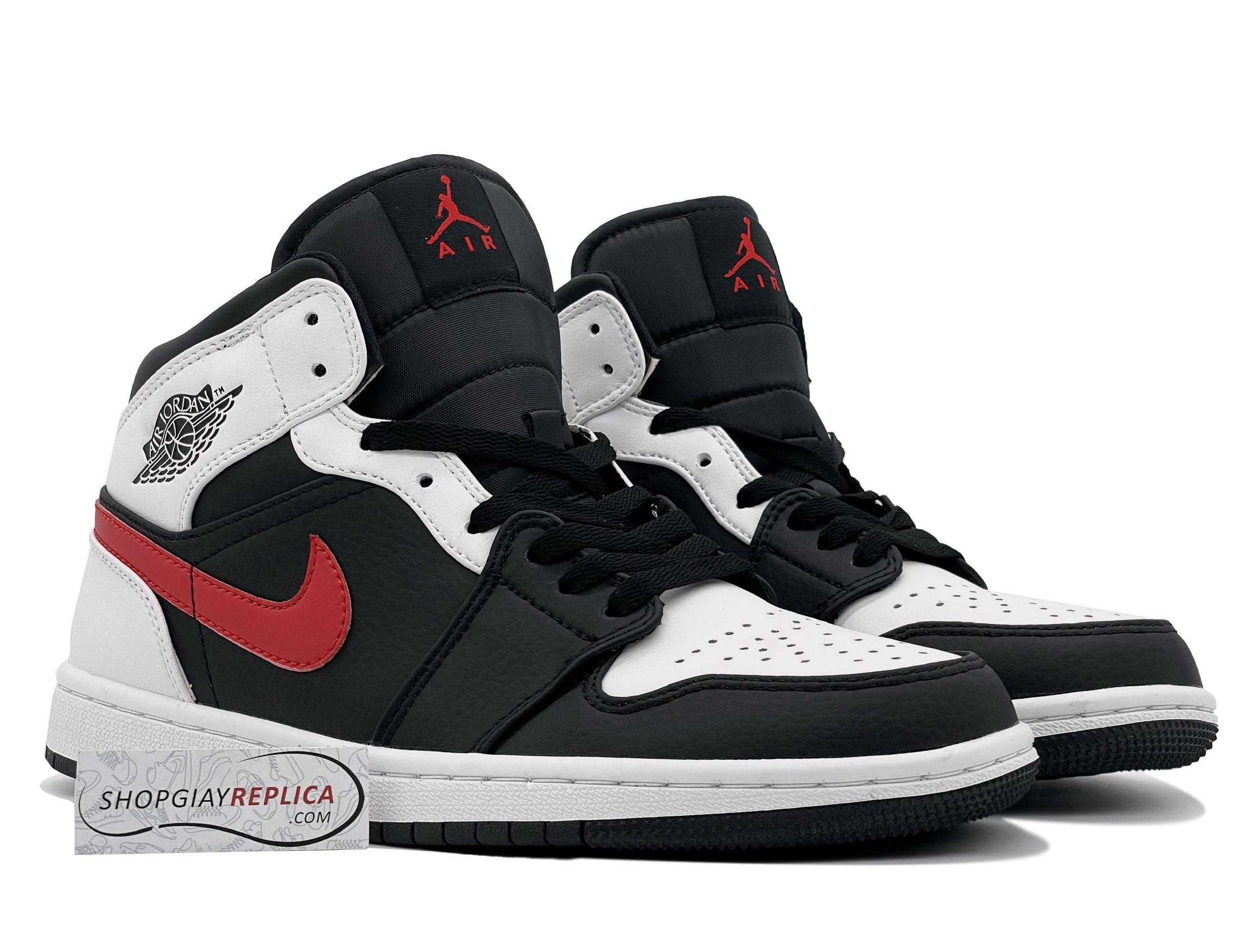 Nike Air Jordan 1 Mid Black Chile Red White 11