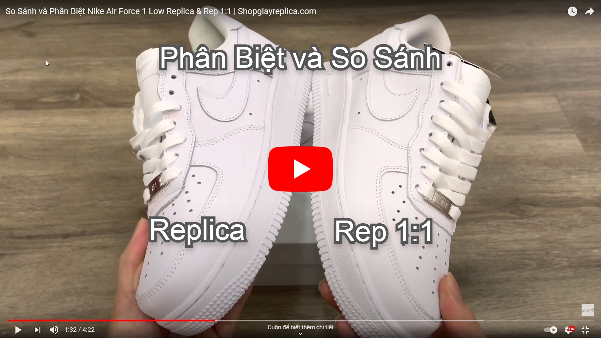 video so sánh nike air force 1 full white