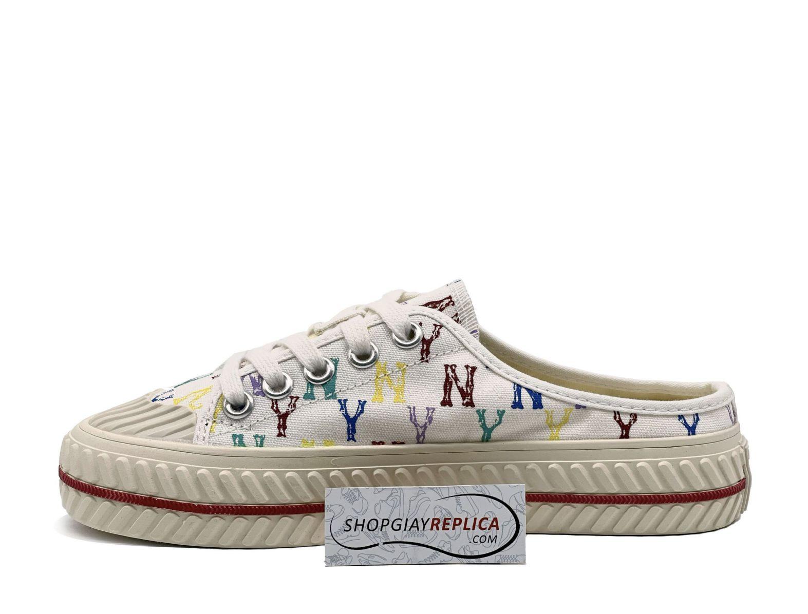 giày đạp gót mlb mule mono ny trắng