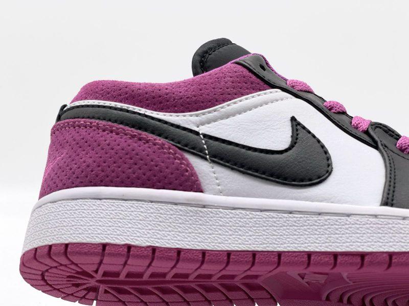 Swoosh Nike Jordan 1 Low Black Active Fuchsia